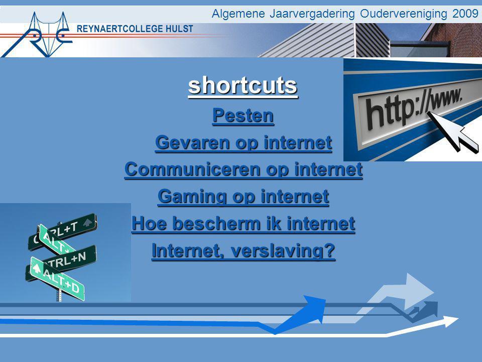 Algemene Jaarvergadering Oudervereniging 2009 shortcuts Pesten Gevaren op internet Gevaren op internet Communiceren op internet Communiceren op internet Gaming op internet Gaming op internet Hoe bescherm ik internet Hoe bescherm ik internet Internet, verslaving.