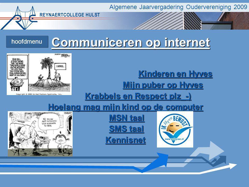 Communiceren op internet Communiceren op internet Kinderen en Hyves Kinderen en Hyves Mijn puber op Hyves Mijn puber op Hyves Krabbels en Respect plz_