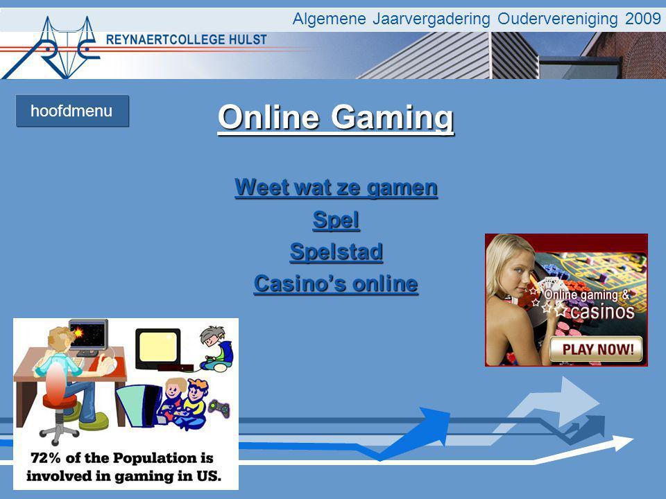 Algemene Jaarvergadering Oudervereniging 2009 Online Gaming Weet wat ze gamen Weet wat ze gamen Spel Spelstad Casino's online Casino's online hoofdmenu