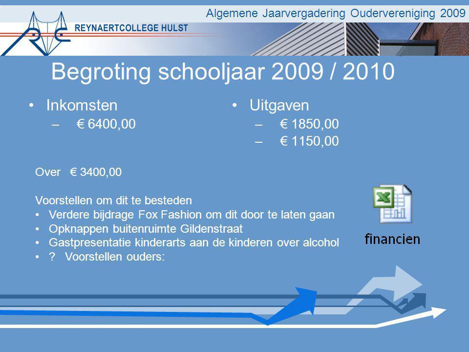 Two column bullet points Inkomsten – € 6400,00 Uitgaven – € 1850,00 – € 1150,00 Algemene Jaarvergadering Oudervereniging 2009 Begroting schooljaar 200