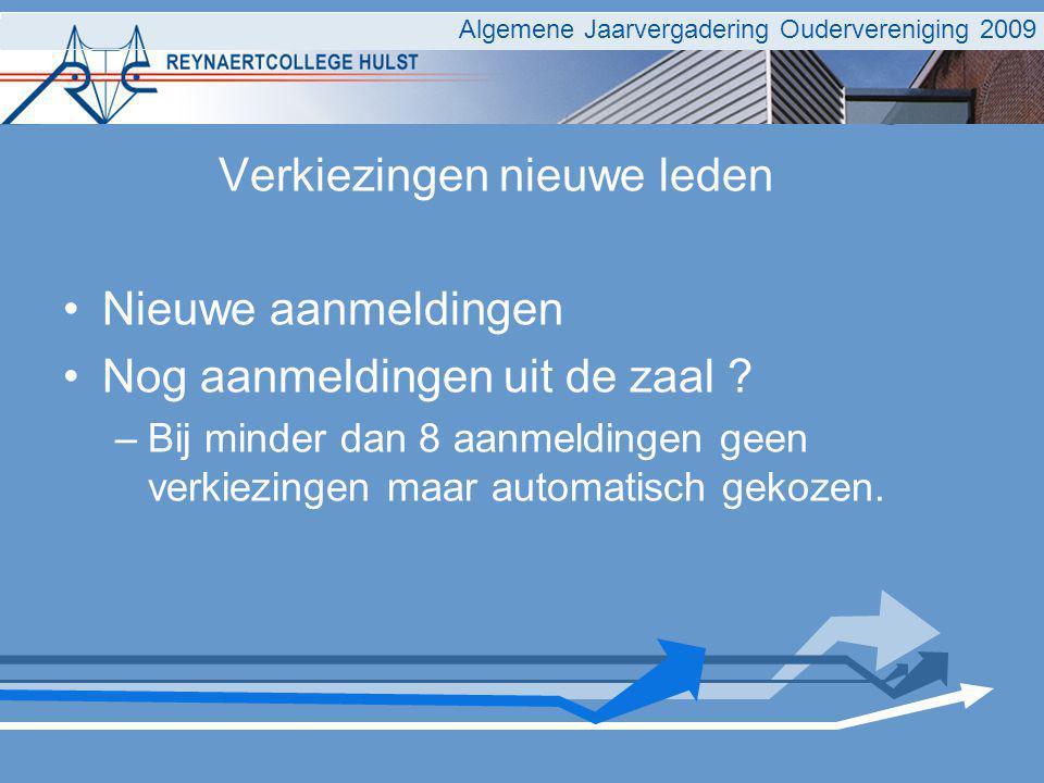 Algemene Jaarvergadering Oudervereniging 2009 Verkiezingen nieuwe leden Nieuwe aanmeldingen Nog aanmeldingen uit de zaal .