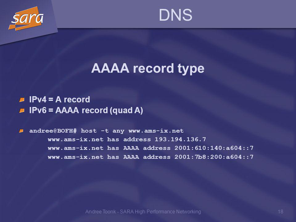 Andree Toonk - SARA High Performance Networking18 DNS AAAA record type IPv4 = A record IPv6 = AAAA record (quad A) andree@BOFH# host -t any www.ams-ix.net www.ams-ix.net has address 193.194.136.7 www.ams-ix.net has AAAA address 2001:610:140:a604::7 www.ams-ix.net has AAAA address 2001:7b8:200:a604::7