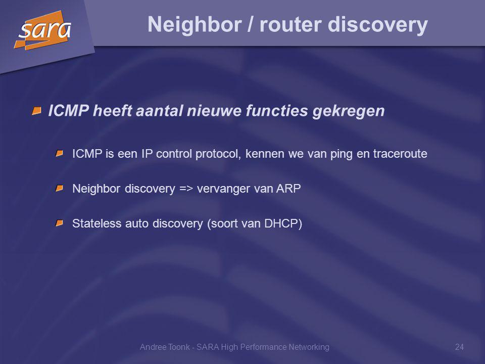 Andree Toonk - SARA High Performance Networking24 Neighbor / router discovery ICMP heeft aantal nieuwe functies gekregen ICMP is een IP control protocol, kennen we van ping en traceroute Neighbor discovery => vervanger van ARP Stateless auto discovery (soort van DHCP)