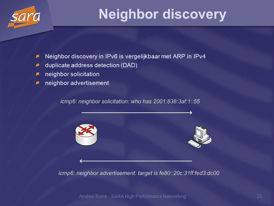 Andree Toonk - SARA High Performance Networking25 Neighbor discovery Neighbor discovery in IPv6 is vergelijkbaar met ARP in IPv4 duplicate address detection (DAD) neighbor solicitation neighbor advertisement