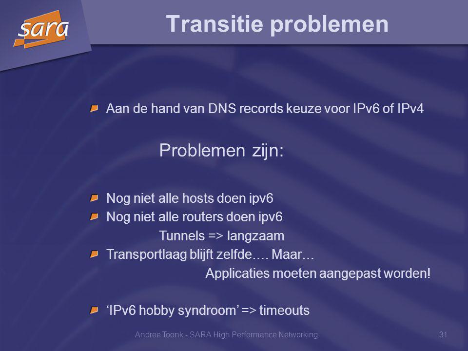 Andree Toonk - SARA High Performance Networking31 Transitie problemen Aan de hand van DNS records keuze voor IPv6 of IPv4 Problemen zijn: Nog niet alle hosts doen ipv6 Nog niet alle routers doen ipv6 Tunnels => langzaam Transportlaag blijft zelfde….