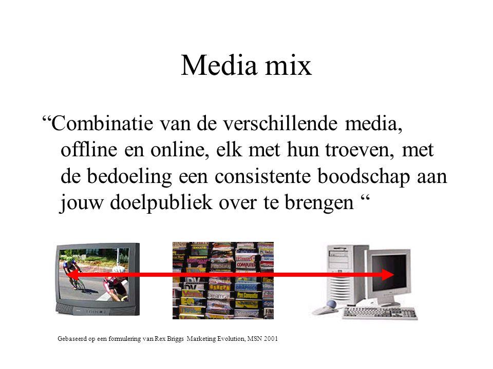 Media mix Combinatie van de verschillende media, offline en online, elk met hun troeven, met de bedoeling een consistente boodschap aan jouw doelpubliek over te brengen Gebaseerd op een formulering van Rex Briggs Marketing Evolution, MSN 2001