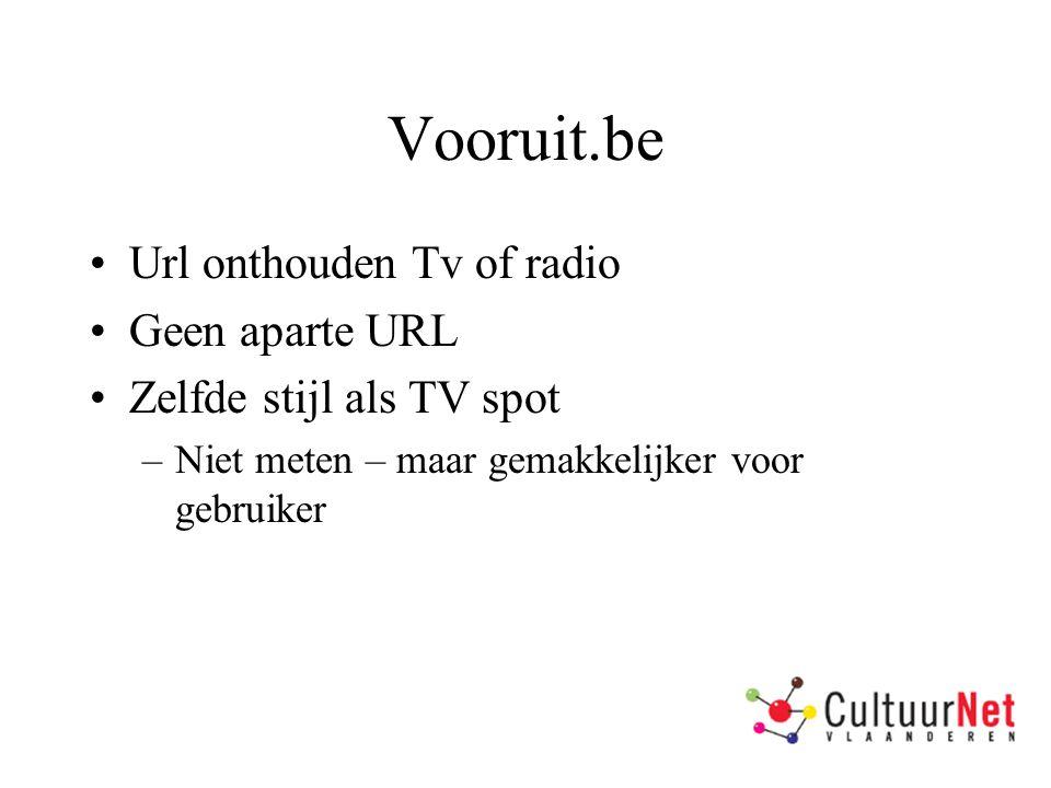 Vooruit.be Url onthouden Tv of radio Geen aparte URL Zelfde stijl als TV spot –Niet meten – maar gemakkelijker voor gebruiker