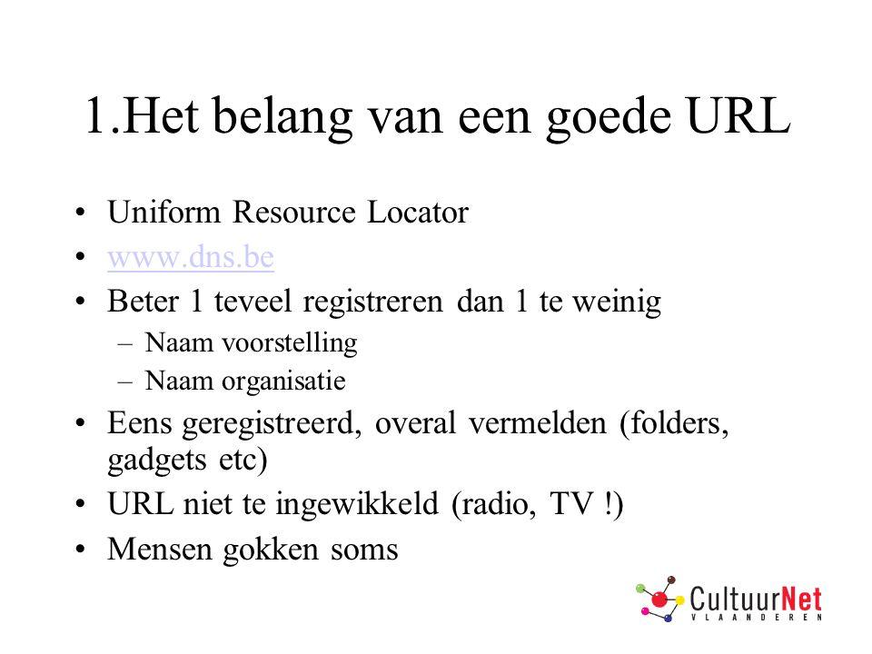 1.Het belang van een goede URL Uniform Resource Locator www.dns.be Beter 1 teveel registreren dan 1 te weinig –Naam voorstelling –Naam organisatie Eens geregistreerd, overal vermelden (folders, gadgets etc) URL niet te ingewikkeld (radio, TV !) Mensen gokken soms