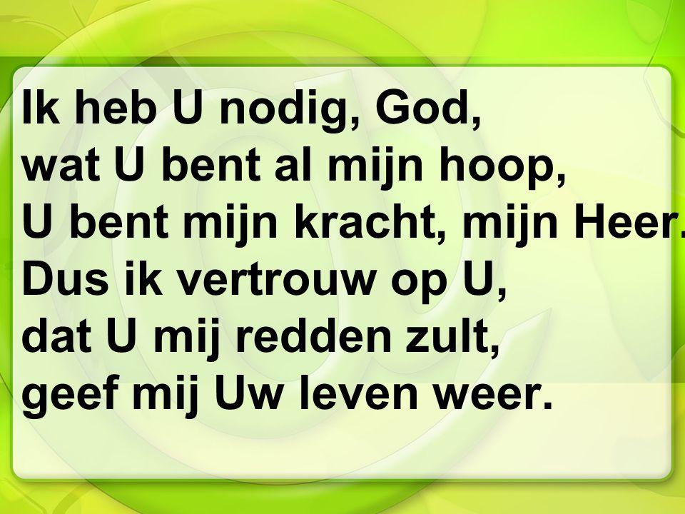 Ik heb U nodig, God, wat U bent al mijn hoop, U bent mijn kracht, mijn Heer. Dus ik vertrouw op U, dat U mij redden zult, geef mij Uw leven weer.