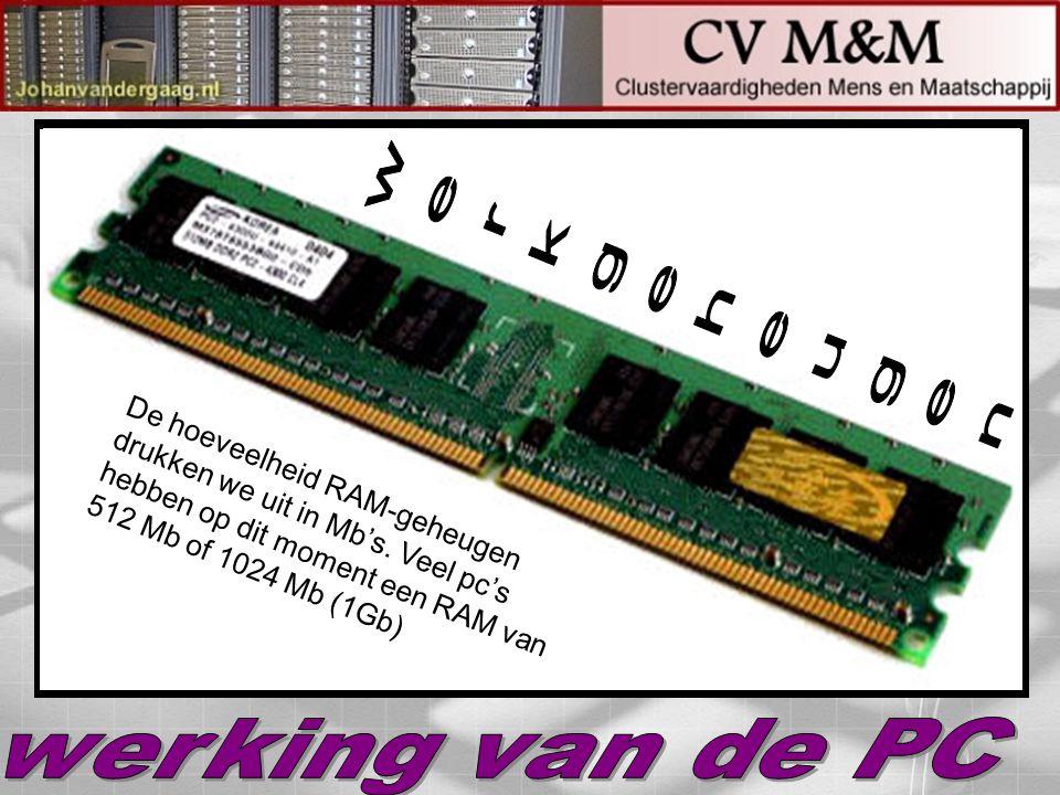De hoeveelheid RAM-geheugen drukken we uit in Mb's. Veel pc's hebben op dit moment een RAM van 512 Mb of 1024 Mb (1Gb)