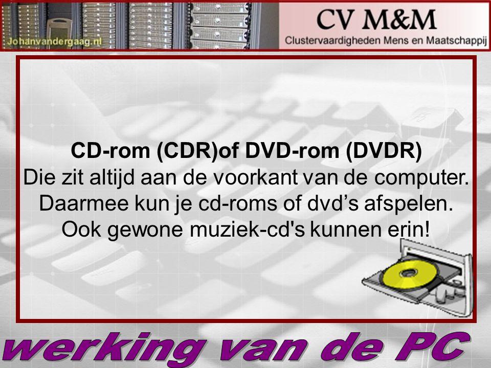 CD-rom (CDR)of DVD-rom (DVDR) Die zit altijd aan de voorkant van de computer. Daarmee kun je cd-roms of dvd's afspelen. Ook gewone muziek-cd's kunnen
