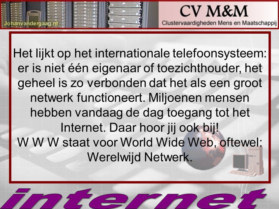 Het lijkt op het internationale telefoonsysteem: er is niet één eigenaar of toezichthouder, het geheel is zo verbonden dat het als een groot netwerk f