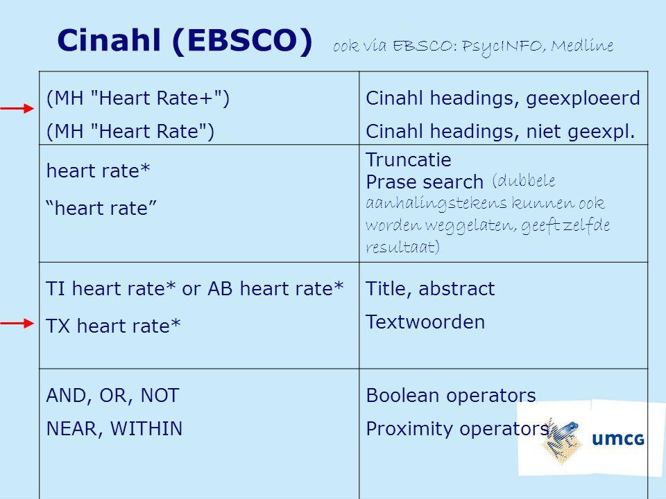 Cinahl (EBSCO) ook via EBSCO: PsycINFO, Medline (MH