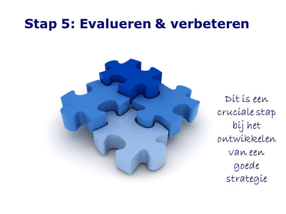 Stap 5: Evalueren & verbeteren Dit is een cruciale stap bij het ontwikkelen van een goede strategie