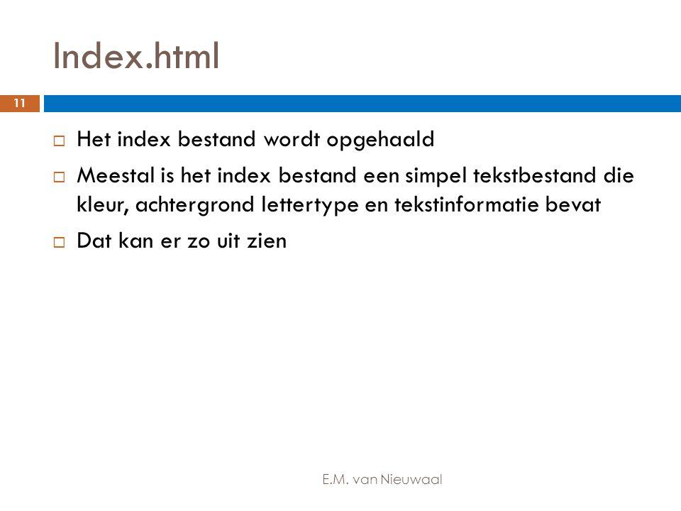 Index.html  Het index bestand wordt opgehaald  Meestal is het index bestand een simpel tekstbestand die kleur, achtergrond lettertype en tekstinform