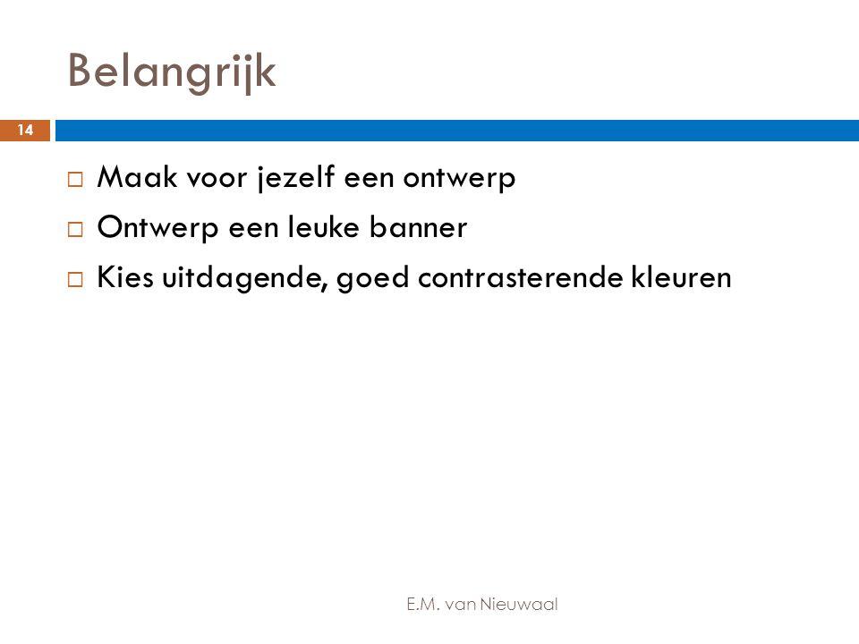 Belangrijk  Maak voor jezelf een ontwerp  Ontwerp een leuke banner  Kies uitdagende, goed contrasterende kleuren 14 E.M. van Nieuwaal