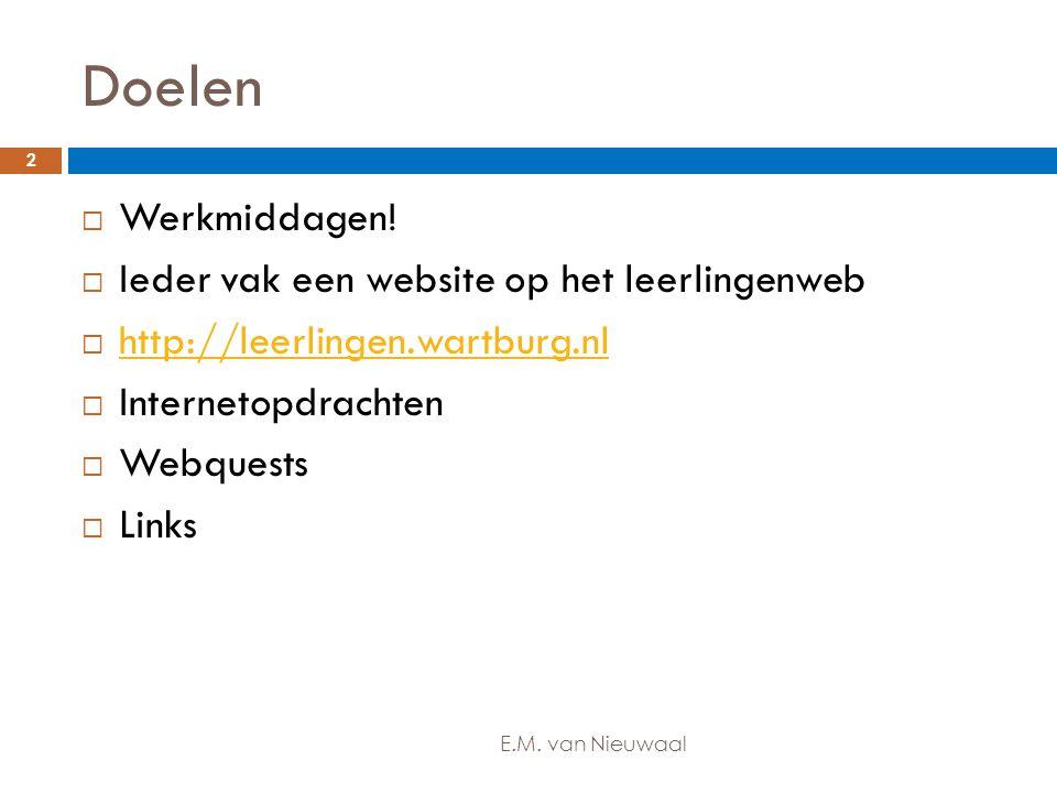 Doelen  Werkmiddagen!  Ieder vak een website op het leerlingenweb  http://leerlingen.wartburg.nl http://leerlingen.wartburg.nl  Internetopdrachten