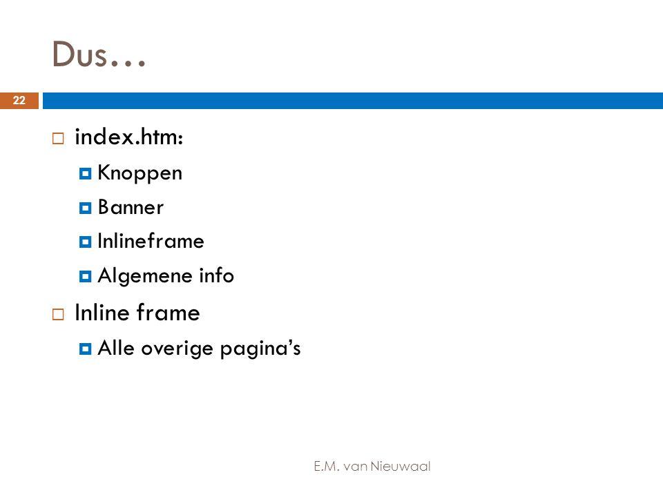 Dus…  index.htm:  Knoppen  Banner  Inlineframe  Algemene info  Inline frame  Alle overige pagina's 22 E.M. van Nieuwaal