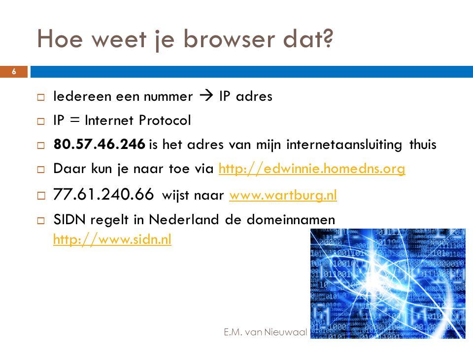 Hoe weet je browser dat?  Iedereen een nummer  IP adres  IP = Internet Protocol  80.57.46.246 is het adres van mijn internetaansluiting thuis  Da