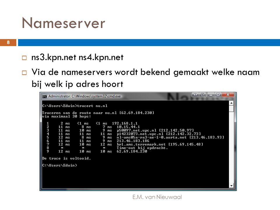 Nameserver  ns3.kpn.net ns4.kpn.net  Via de nameservers wordt bekend gemaakt welke naam bij welk ip adres hoort 8 E.M. van Nieuwaal