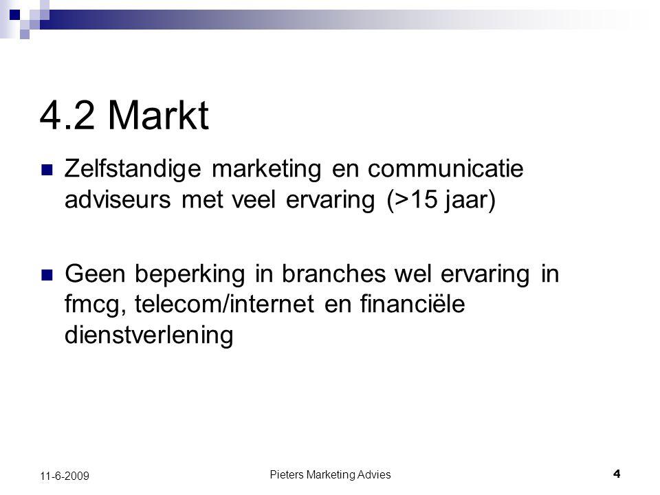 Pieters Marketing Advies4 11-6-2009 4.2 Markt Zelfstandige marketing en communicatie adviseurs met veel ervaring (>15 jaar) Geen beperking in branches wel ervaring in fmcg, telecom/internet en financiële dienstverlening