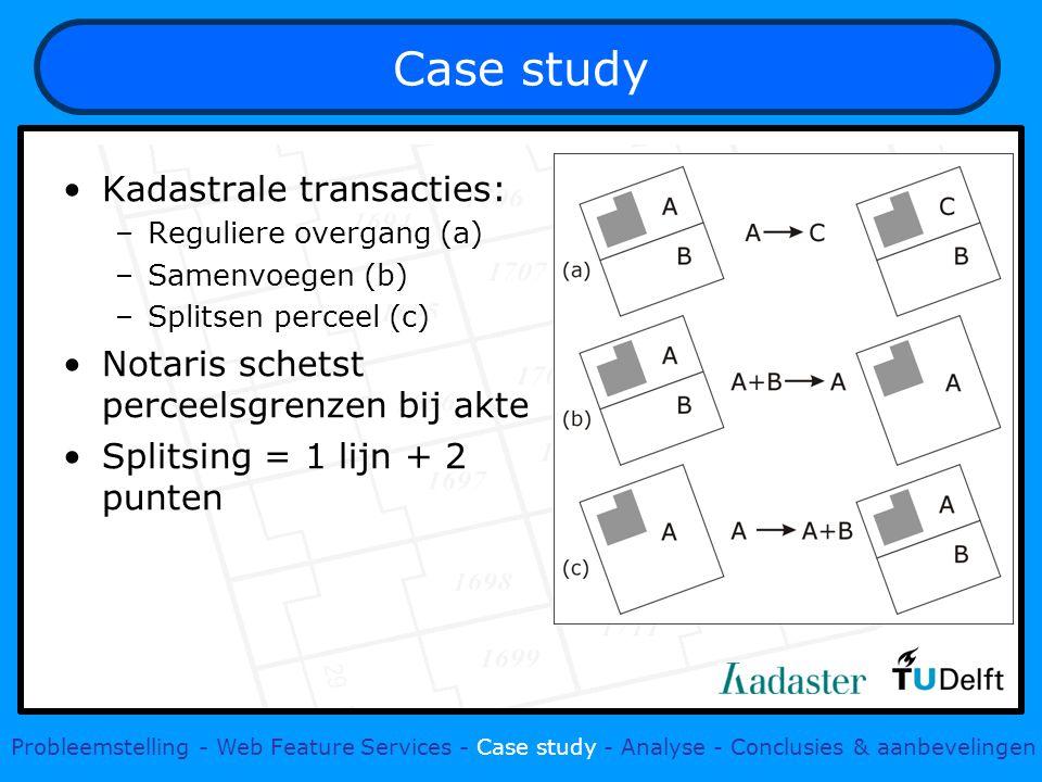 Case study Probleemstelling - Web Feature Services - Case study - Analyse - Conclusies & aanbevelingen Kadastrale transacties: –Reguliere overgang (a) –Samenvoegen (b) –Splitsen perceel (c) Notaris schetst perceelsgrenzen bij akte Splitsing = 1 lijn + 2 punten