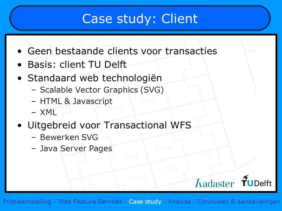 Case study: Client Geen bestaande clients voor transacties Basis: client TU Delft Standaard web technologiën –Scalable Vector Graphics (SVG) –HTML & J