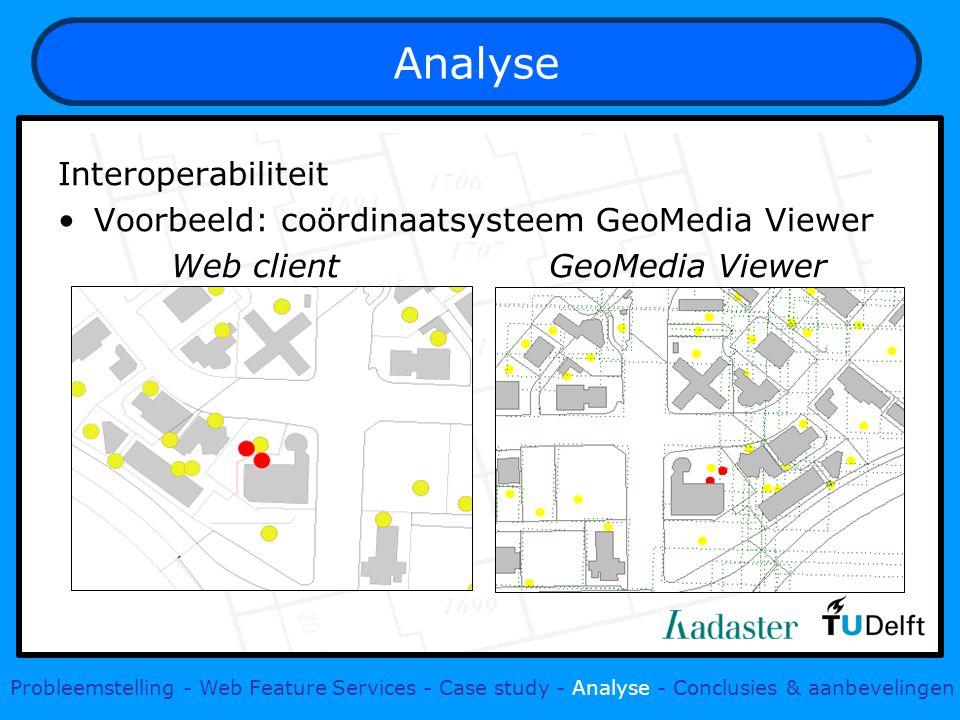 Analyse Interoperabiliteit Voorbeeld: coördinaatsysteem GeoMedia Viewer Web client GeoMedia Viewer Probleemstelling - Web Feature Services - Case stud