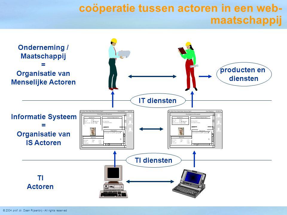 © 2004 prof. dr. Daan Rijsenbrij - All rights reserved coöperatie tussen actoren in een web- maatschappij Informatie Systeem = Organisatie van IS Acto