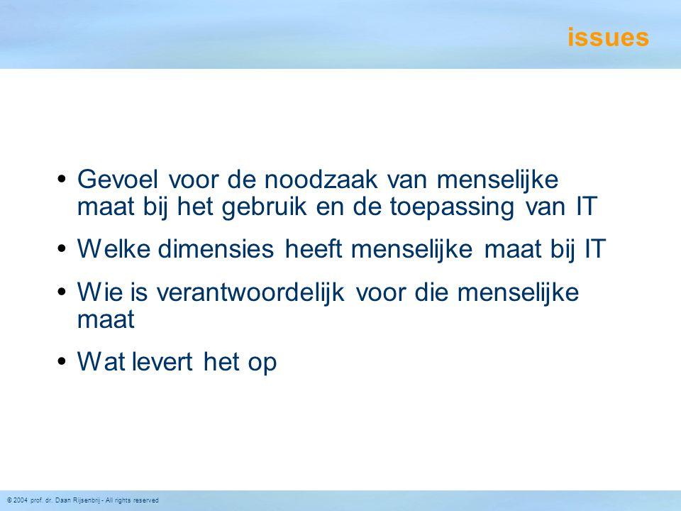 © 2004 prof. dr. Daan Rijsenbrij - All rights reserved issues  Gevoel voor de noodzaak van menselijke maat bij het gebruik en de toepassing van IT 