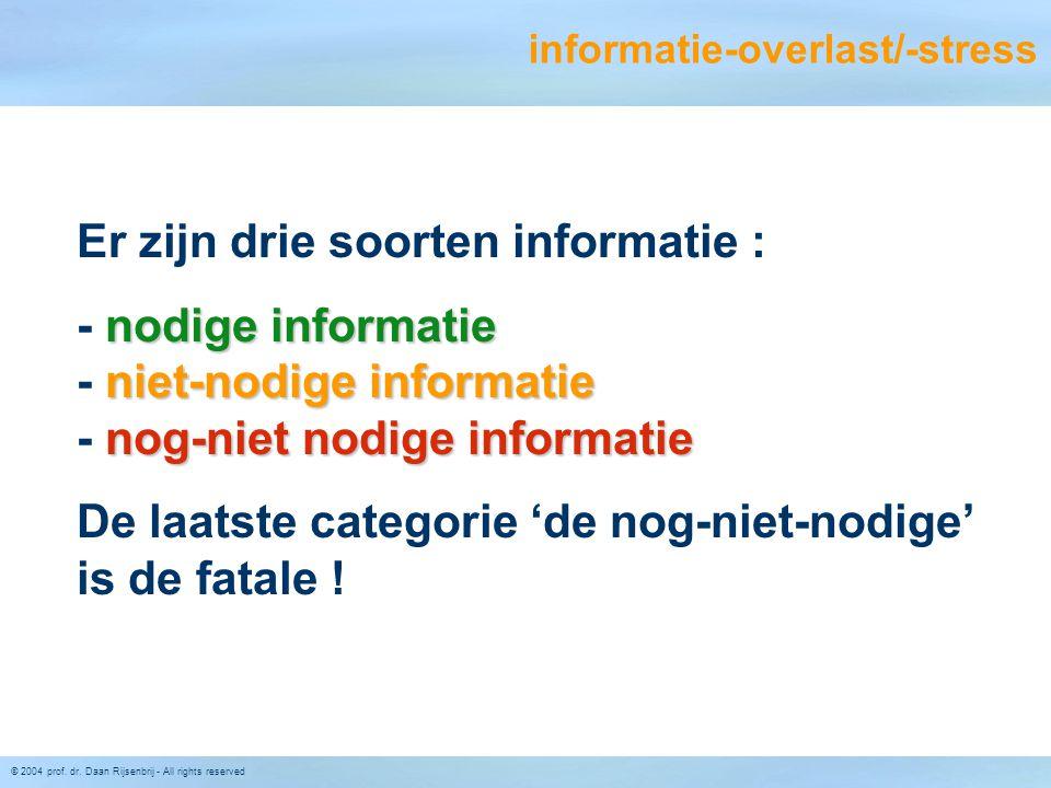 © 2004 prof. dr. Daan Rijsenbrij - All rights reserved informatie-overlast/-stress Er zijn drie soorten informatie : nodige informatie niet-nodige inf