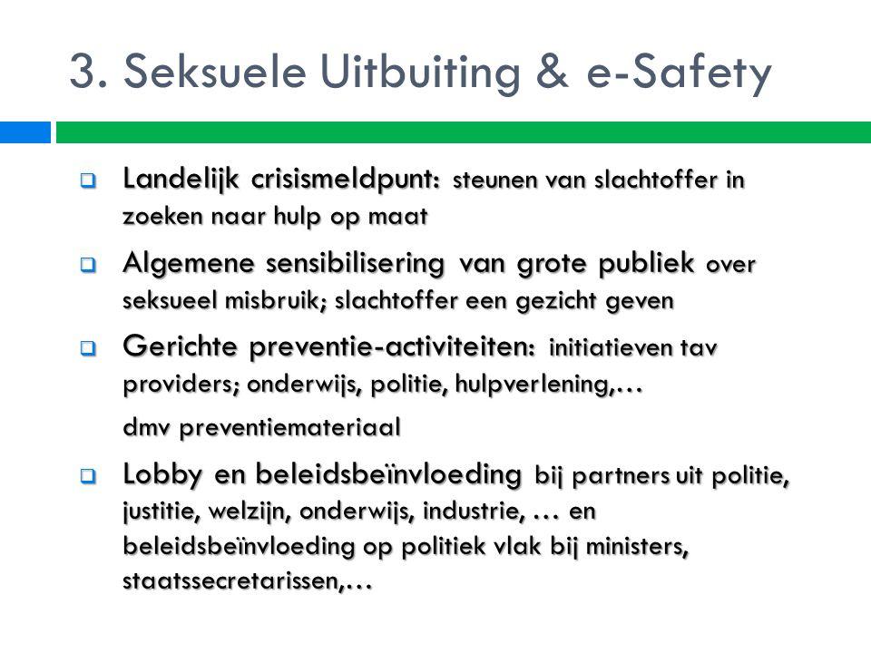 3. Seksuele Uitbuiting & e-Safety  Landelijk crisismeldpunt: steunen van slachtoffer in zoeken naar hulp op maat  Algemene sensibilisering van grote