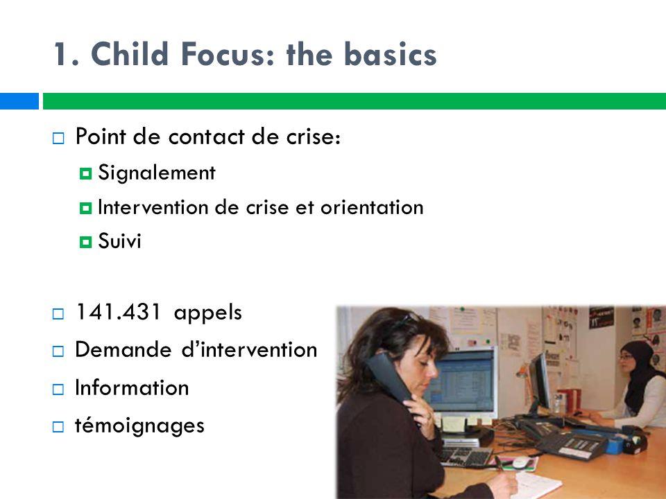  COMPLEMENTARITEIT: Child Focus stelt zich niet in de plaats van bestaande hulpverleningsvoorzieningen of de politie.
