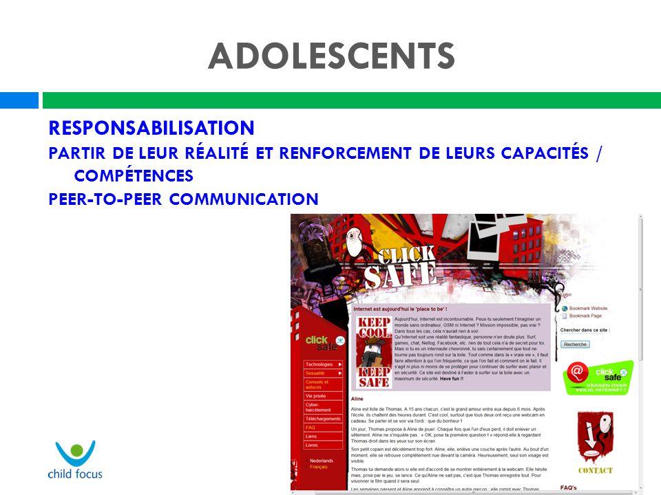 ADOLESCENTS RESPONSABILISATION PARTIR DE LEUR RÉALITÉ ET RENFORCEMENT DE LEURS CAPACITÉS / COMPÉTENCES PEER-TO-PEER COMMUNICATION