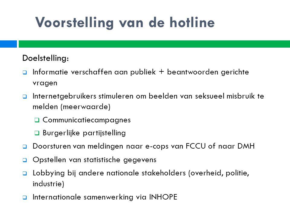 Doelstelling:  Informatie verschaffen aan publiek + beantwoorden gerichte vragen  Internetgebruikers stimuleren om beelden van seksueel misbruik te