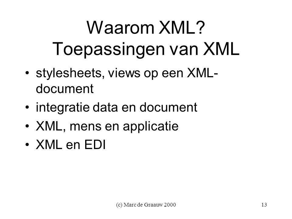 (c) Marc de Graauw 200013 Waarom XML.
