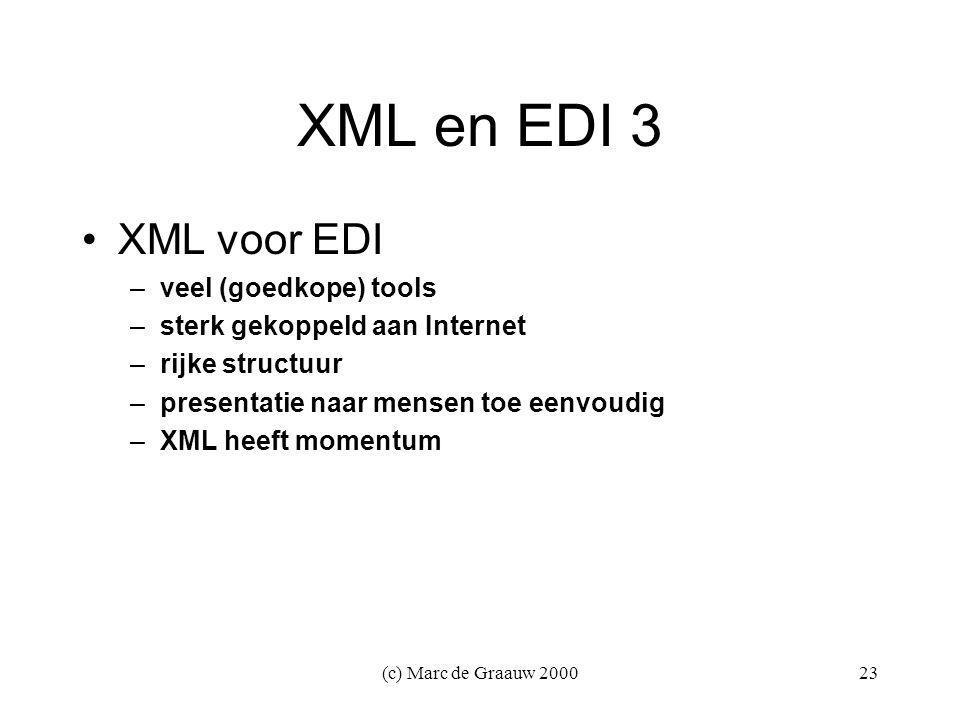 (c) Marc de Graauw 200023 XML en EDI 3 XML voor EDI –veel (goedkope) tools –sterk gekoppeld aan Internet –rijke structuur –presentatie naar mensen toe eenvoudig –XML heeft momentum