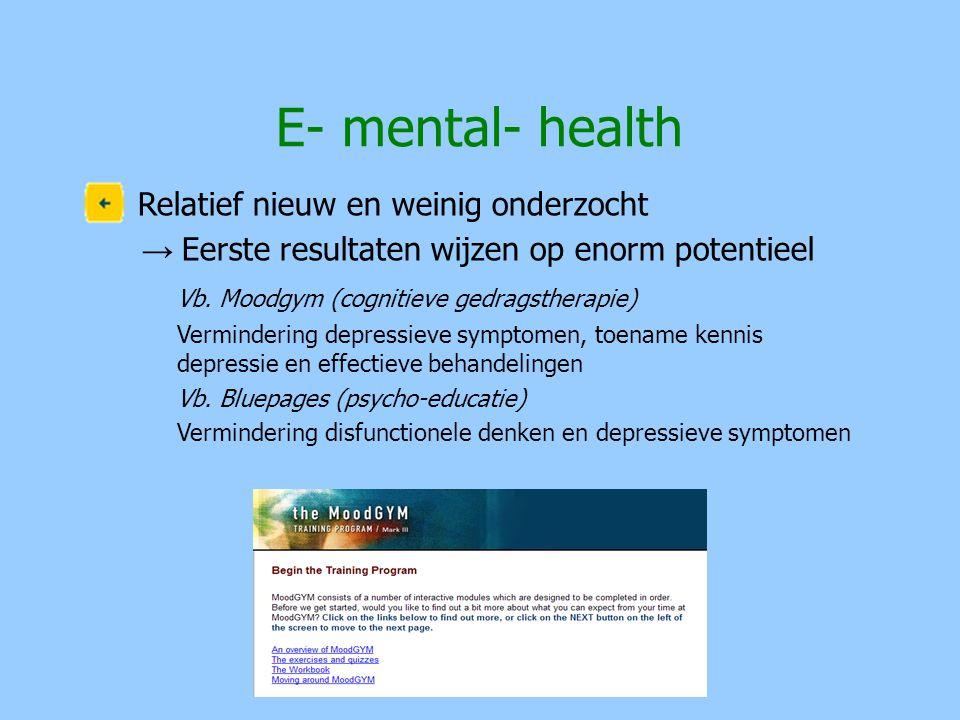 Relatief nieuw en weinig onderzocht → Eerste resultaten wijzen op enorm potentieel Vb. Moodgym (cognitieve gedragstherapie) Vermindering depressieve s
