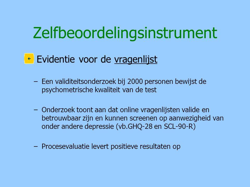 Zelfbeoordelingsinstrument Evidentie voor de vragenlijst –Een validiteitsonderzoek bij 2000 personen bewijst de psychometrische kwaliteit van de test