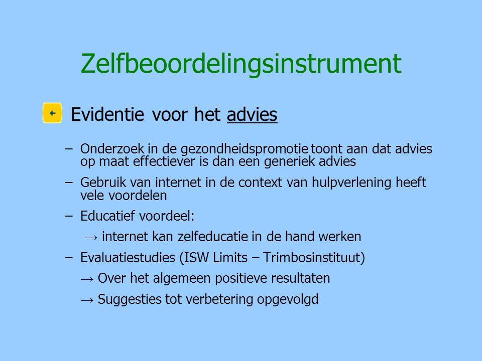 Zelfbeoordelingsinstrument Evidentie voor het advies –Onderzoek in de gezondheidspromotie toont aan dat advies op maat effectiever is dan een generiek
