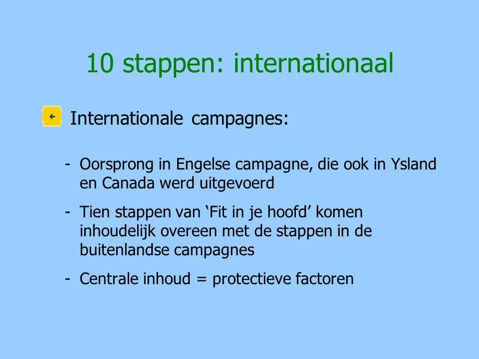 10 stappen: internationaal Internationale campagnes: -Oorsprong in Engelse campagne, die ook in Ysland en Canada werd uitgevoerd -Tien stappen van 'Fi