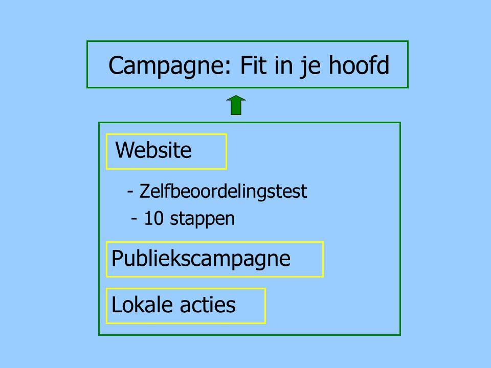 Campagne: Fit in je hoofd - Zelfbeoordelingstest Website - 10 stappen Publiekscampagne Lokale acties
