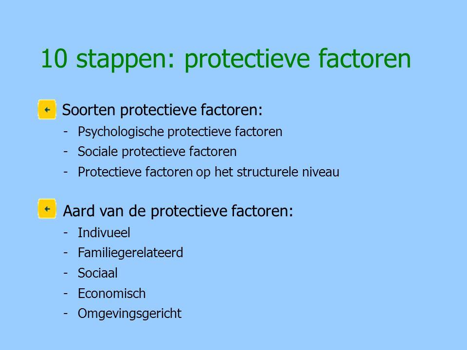 Soorten protectieve factoren: -Psychologische protectieve factoren -Sociale protectieve factoren -Protectieve factoren op het structurele niveau Aard