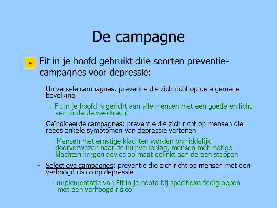 De campagne Fit in je hoofd gebruikt drie soorten preventie- campagnes voor depressie: -Universele campagnes: preventie die zich richt op de algemene