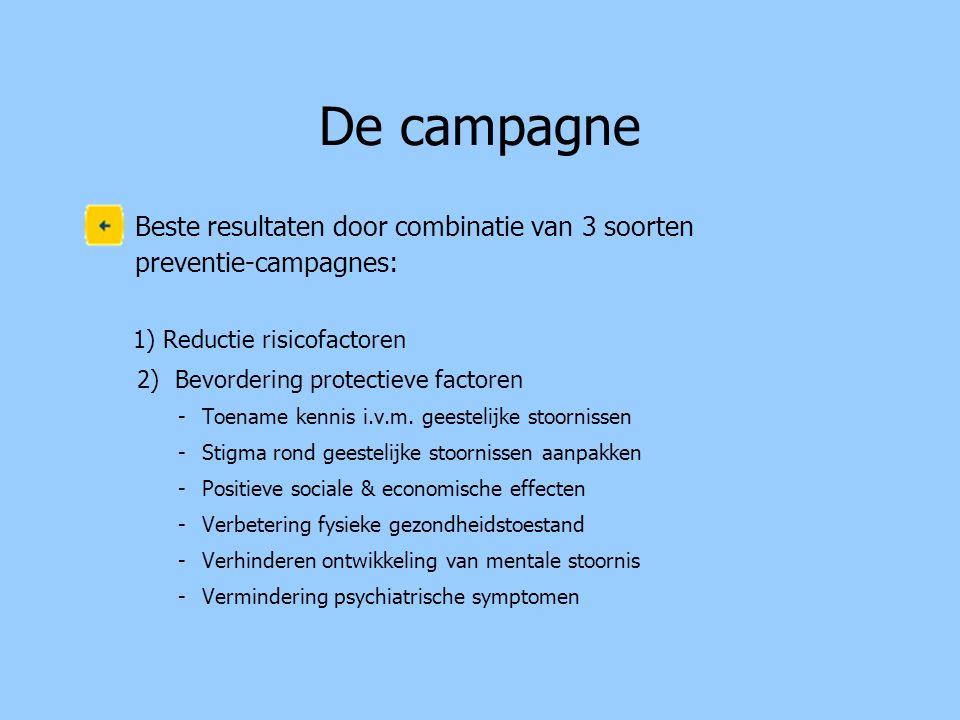 De campagne Beste resultaten door combinatie van 3 soorten preventie-campagnes: 1) Reductie risicofactoren 2) Bevordering protectieve factoren -Toenam