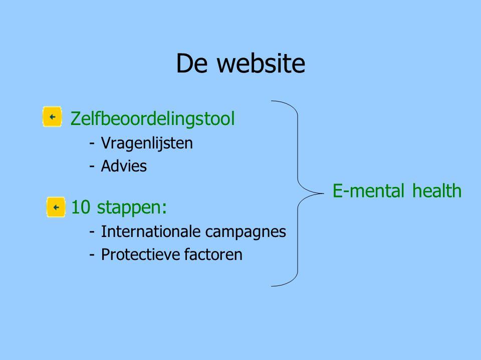 De website Zelfbeoordelingstool -Vragenlijsten -Advies 10 stappen: -Internationale campagnes -Protectieve factoren E-mental health