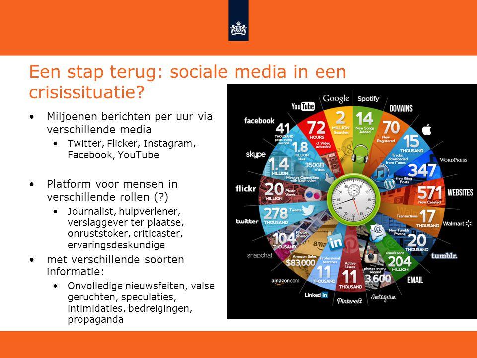 Een stap terug: sociale media in een crisissituatie? Miljoenen berichten per uur via verschillende media Twitter, Flicker, Instagram, Facebook, YouTub