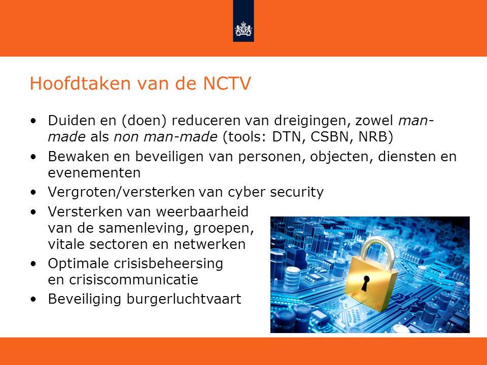 Hoofdtaken van de NCTV Duiden en (doen) reduceren van dreigingen, zowel man- made als non man-made (tools: DTN, CSBN, NRB) Bewaken en beveiligen van p
