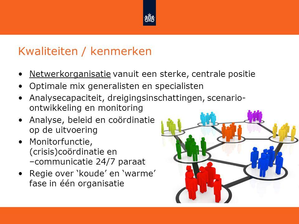 Kwaliteiten / kenmerken Netwerkorganisatie vanuit een sterke, centrale positie Optimale mix generalisten en specialisten Analysecapaciteit, dreigingsi
