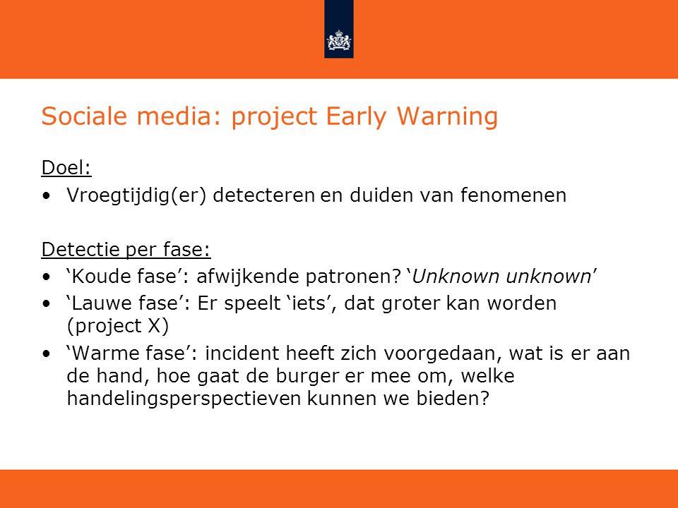 Sociale media: project Early Warning Doel: Vroegtijdig(er) detecteren en duiden van fenomenen Detectie per fase: 'Koude fase': afwijkende patronen? 'U